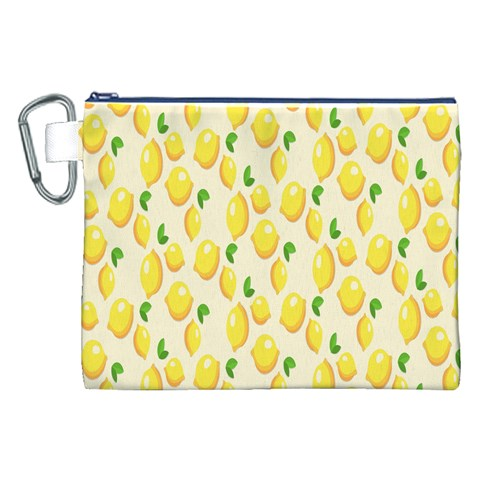 Pattern Template Lemons Yellow Canvas Cosmetic Bag (XXL)