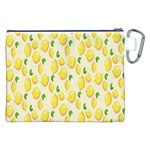 Pattern Template Lemons Yellow Canvas Cosmetic Bag (XXL) Back