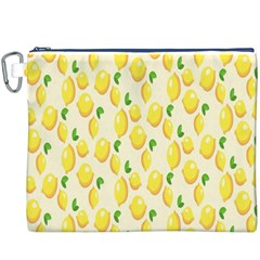 Pattern Template Lemons Yellow Canvas Cosmetic Bag (XXXL)