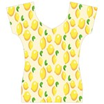 Pattern Template Lemons Yellow Women s V-Neck Cap Sleeve Top Front