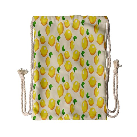 Pattern Template Lemons Yellow Drawstring Bag (Small)