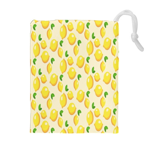 Pattern Template Lemons Yellow Drawstring Pouches (Extra Large)