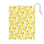 Pattern Template Lemons Yellow Drawstring Pouches (Extra Large) Front