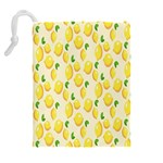 Pattern Template Lemons Yellow Drawstring Pouches (Extra Large) Back