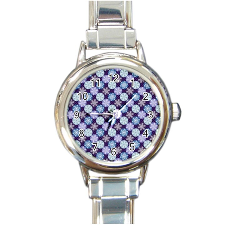 Snowflakes Pattern Round Italian Charm Watch
