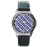 Snowflakes Pattern Round Metal Watch Front