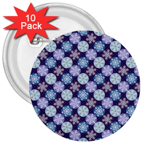 Snowflakes Pattern 3  Buttons (10 pack)