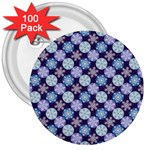 Snowflakes Pattern 3  Buttons (100 pack)  Front