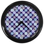 Snowflakes Pattern Wall Clocks (Black) Front