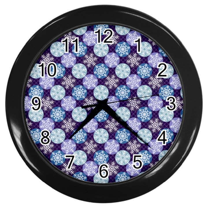 Snowflakes Pattern Wall Clocks (Black)