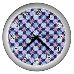 Snowflakes Pattern Wall Clocks (Silver)