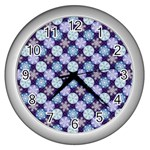 Snowflakes Pattern Wall Clocks (Silver)  Front