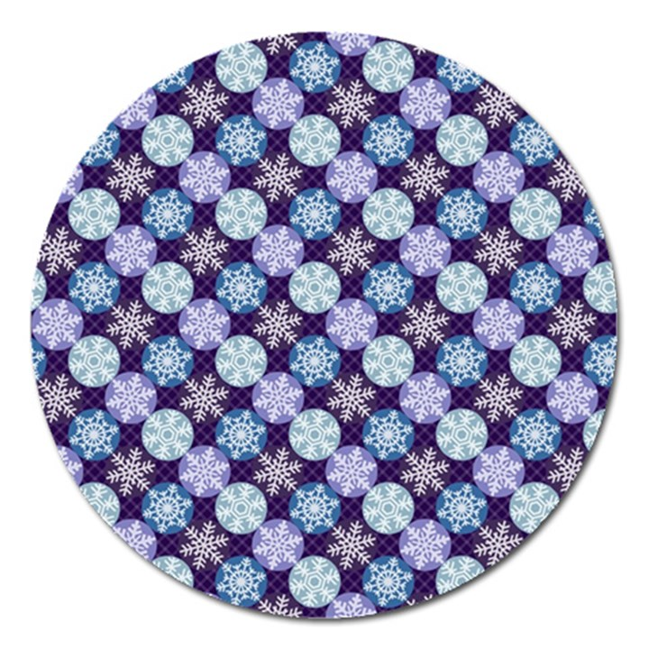 Snowflakes Pattern Magnet 5  (Round)