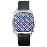 Snowflakes Pattern Square Metal Watch Front