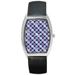 Snowflakes Pattern Barrel Style Metal Watch Front