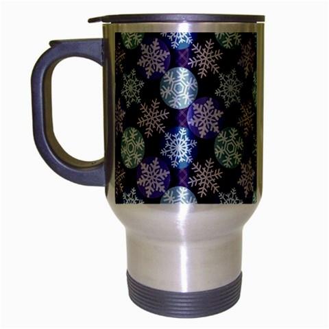 Snowflakes Pattern Travel Mug (Silver Gray)