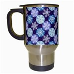Snowflakes Pattern Travel Mugs (White) Left