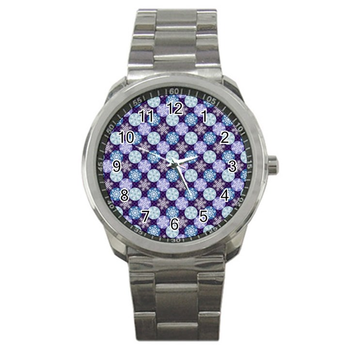 Snowflakes Pattern Sport Metal Watch