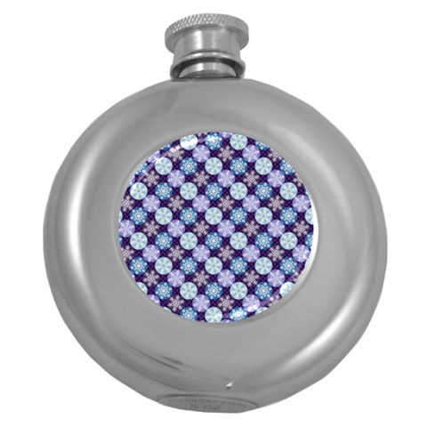 Snowflakes Pattern Round Hip Flask (5 oz)
