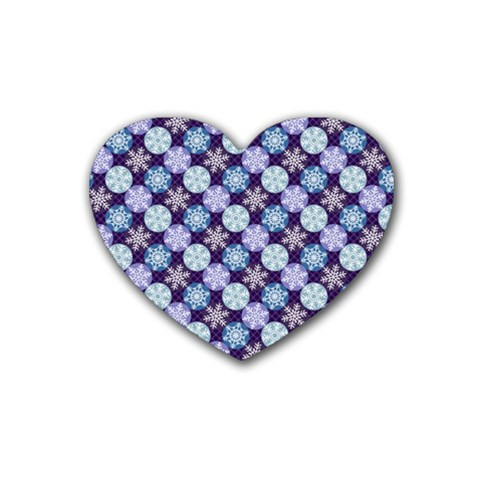 Snowflakes Pattern Heart Coaster (4 pack)