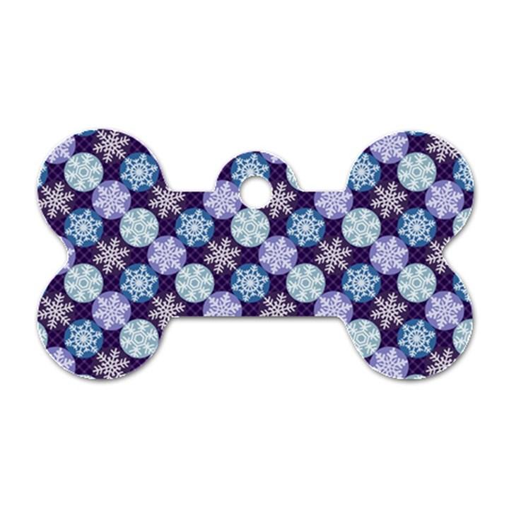 Snowflakes Pattern Dog Tag Bone (Two Sides)