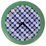 Snowflakes Pattern Color Wall Clocks Front