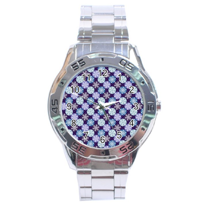Snowflakes Pattern Stainless Steel Analogue Watch