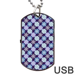 Snowflakes Pattern Dog Tag USB Flash (One Side)