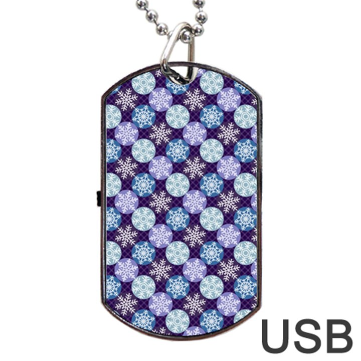 Snowflakes Pattern Dog Tag USB Flash (Two Sides)