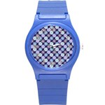 Snowflakes Pattern Round Plastic Sport Watch (S) Front