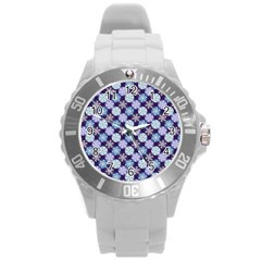 Snowflakes Pattern Round Plastic Sport Watch (l)