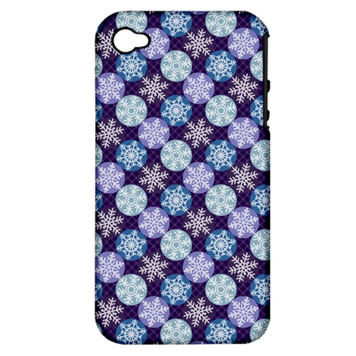 Snowflakes Pattern Apple iPhone 4/4S Hardshell Case (PC+Silicone)