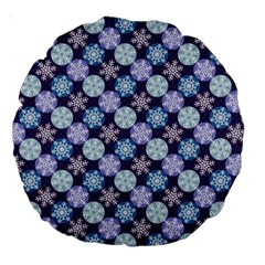 Snowflakes Pattern Large 18  Premium Round Cushions