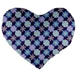 Snowflakes Pattern Large 19  Premium Heart Shape Cushions Front