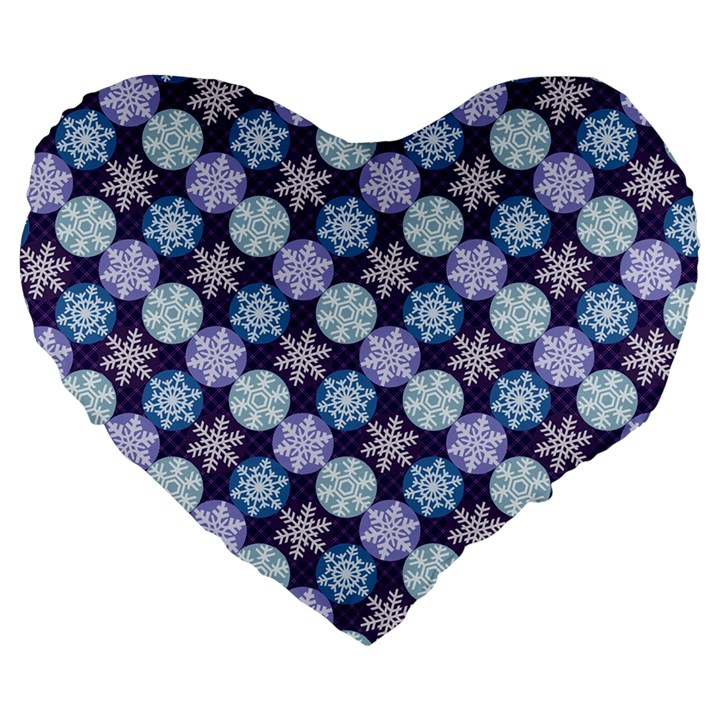 Snowflakes Pattern Large 19  Premium Heart Shape Cushions