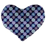 Snowflakes Pattern Large 19  Premium Heart Shape Cushions Back