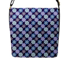 Snowflakes Pattern Flap Messenger Bag (L)