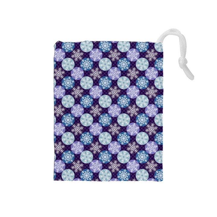 Snowflakes Pattern Drawstring Pouches (Medium)