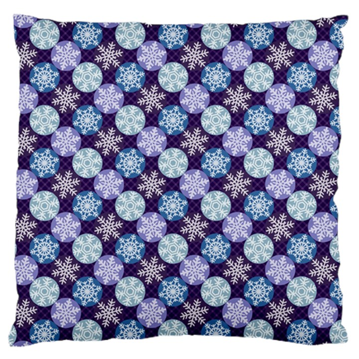 Snowflakes Pattern Large Flano Cushion Case (One Side)
