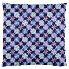Snowflakes Pattern Large Flano Cushion Case (Two Sides)