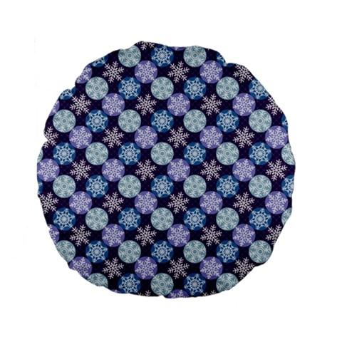 Snowflakes Pattern Standard 15  Premium Flano Round Cushions