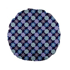 Snowflakes Pattern Standard 15  Premium Flano Round Cushions