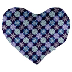 Snowflakes Pattern Large 19  Premium Flano Heart Shape Cushions