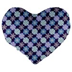 Snowflakes Pattern Large 19  Premium Flano Heart Shape Cushions Back