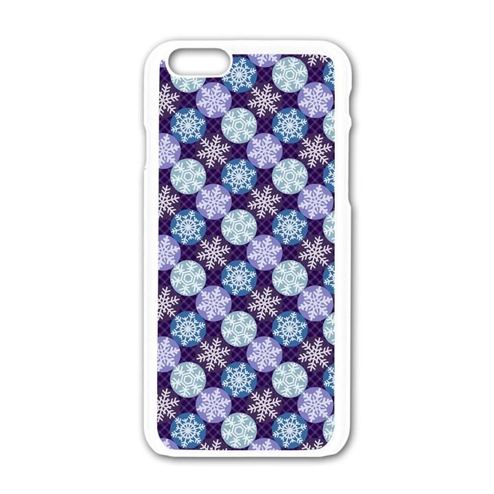 Snowflakes Pattern Apple iPhone 6/6S White Enamel Case