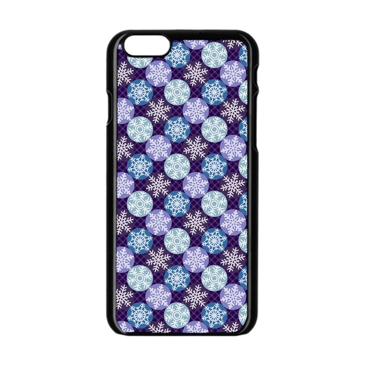Snowflakes Pattern Apple iPhone 6/6S Black Enamel Case