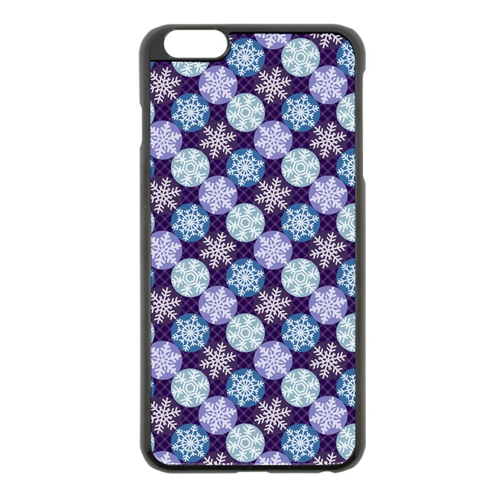 Snowflakes Pattern Apple iPhone 6 Plus/6S Plus Black Enamel Case