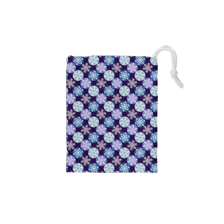 Snowflakes Pattern Drawstring Pouches (XS)