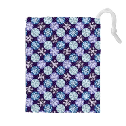 Snowflakes Pattern Drawstring Pouches (Extra Large)