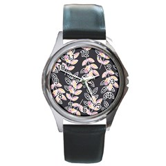 Winter Beautiful Foliage  Round Metal Watch